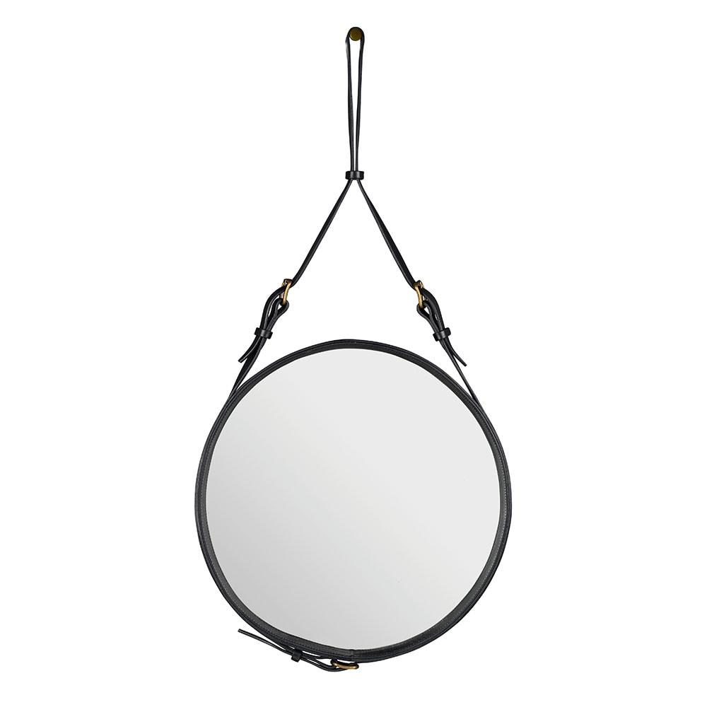 spegel med läder