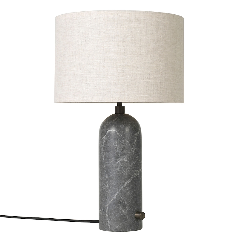 Gravity bordslampa vitsvart, large, vit skärm, svart