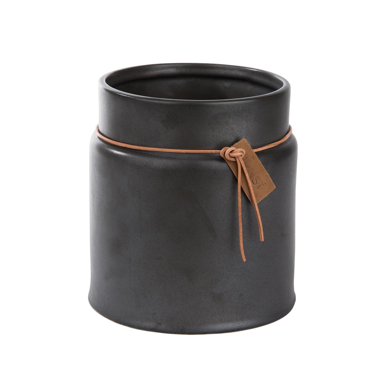Kruka Med Läderband 15x18cm, Grå, Ernst Kirchsteiger