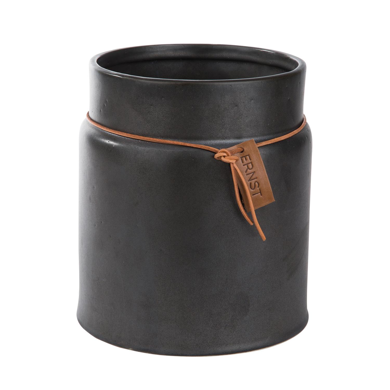 Kruka Med Läderband 17x21cm, Grå, Ernst Kirchsteiger