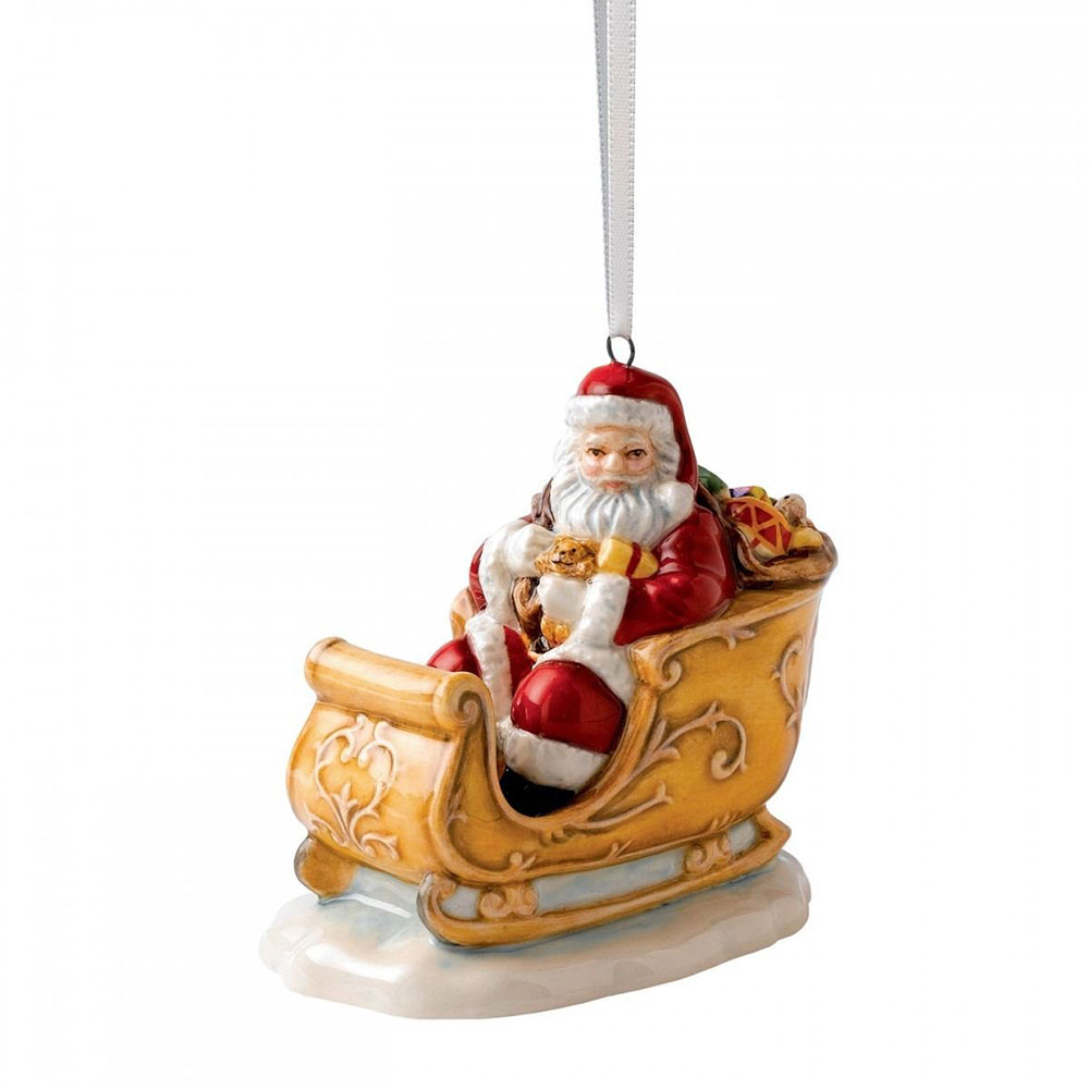 Christmas Ornament Santa and Sleigh 6,5 cm
