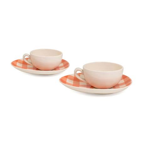 Cappuccinokoppar & Fat 2-Pack Gingham Orange