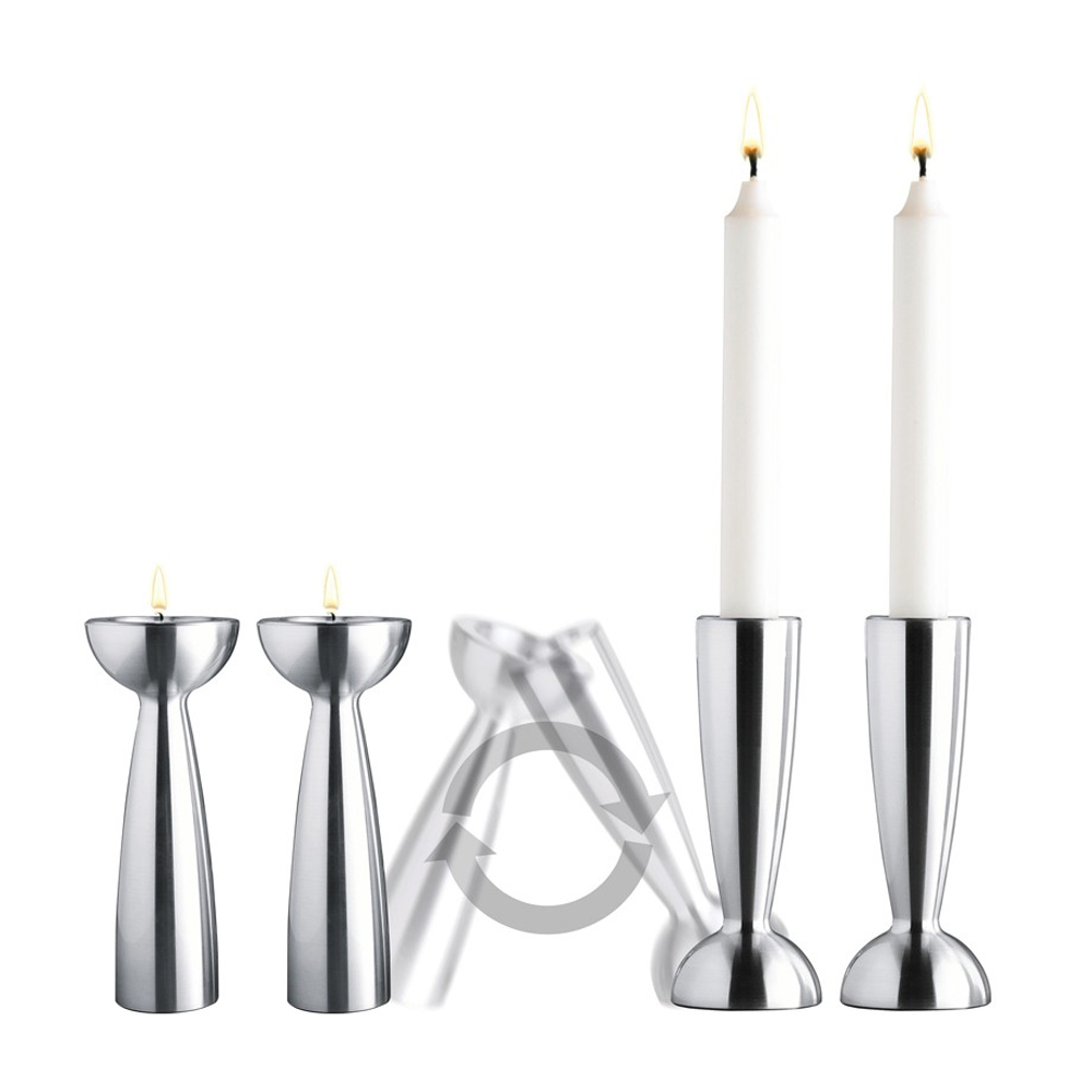Candle Light Vändbar ljusstake 2-pack Aluminium