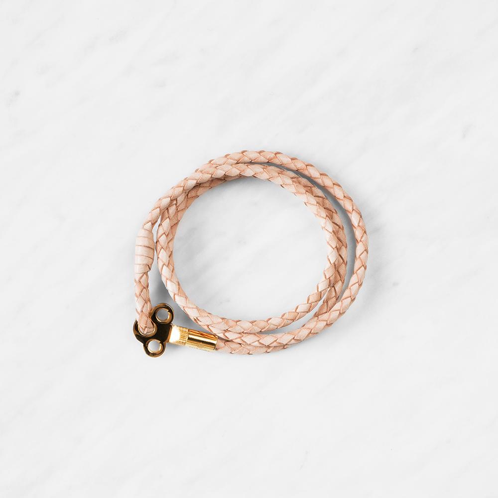 The Key Läderarmband S Natur/Guld