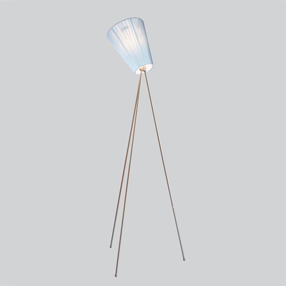Oslo Wood Golvlampa Stål/Ljusblå