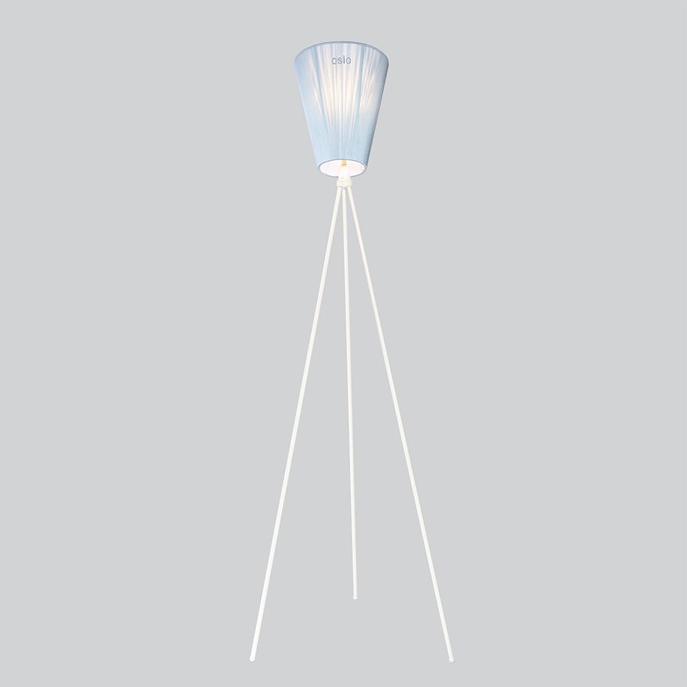Oslo Wood Golvlampa Vit/Ljusblå