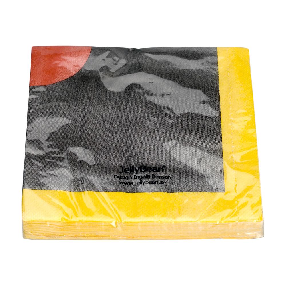 Servetter 20 p svart/gul/röd, JellyBean
