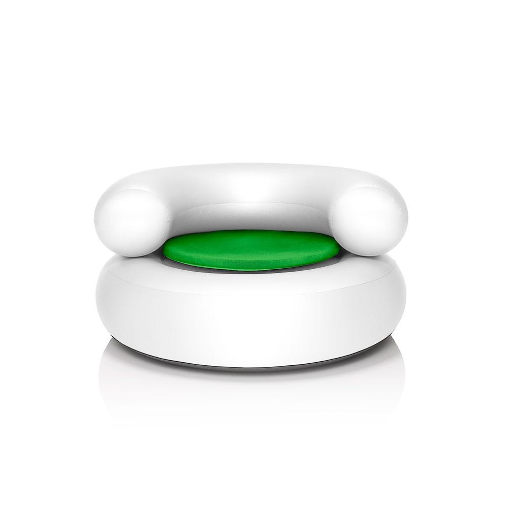 CH-AIR Vit Fåtölj Med Grön Sittdyna