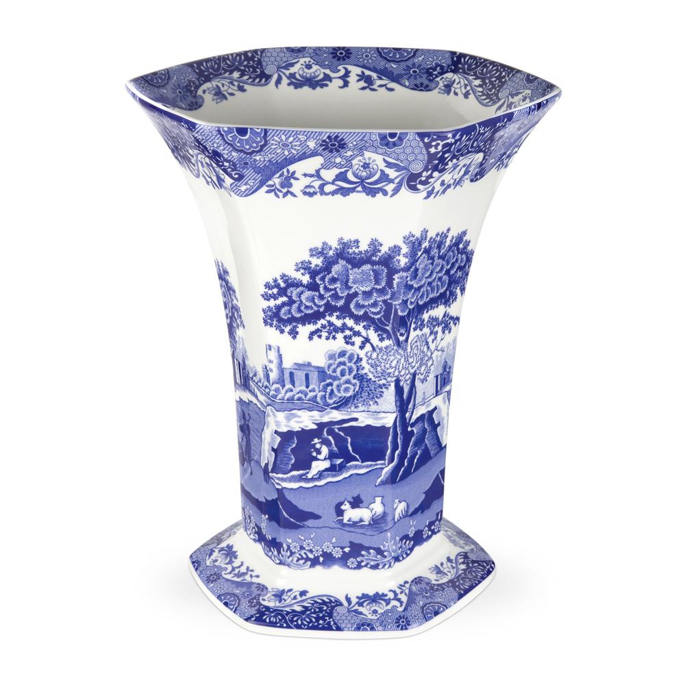 Blue Italian Sexkantig Vas 270 mm