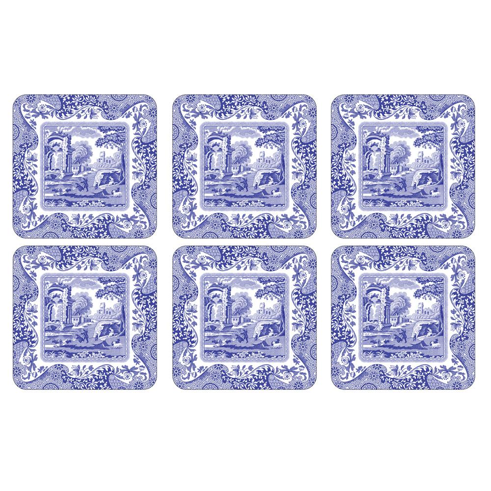 Blue Italian Glasunderlägg 6-Pack 105 mm x 105 mm