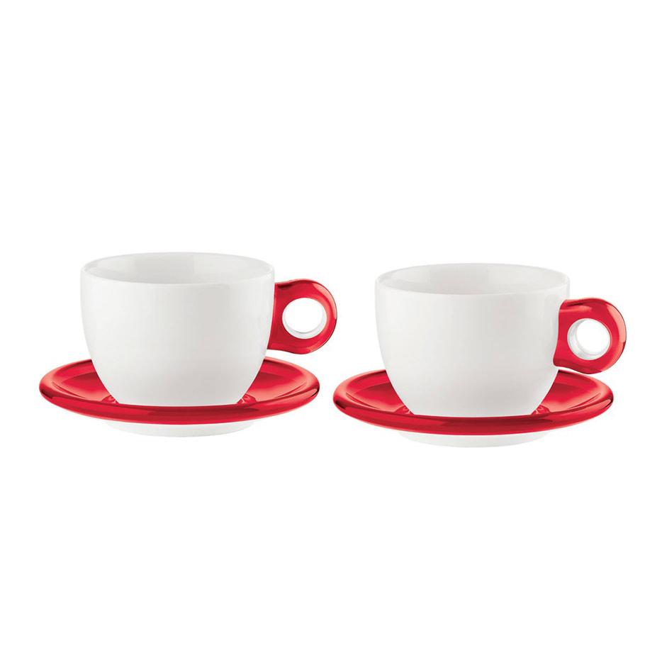 Guzzini Set med 2 Kaffekoppar med fat, Röd