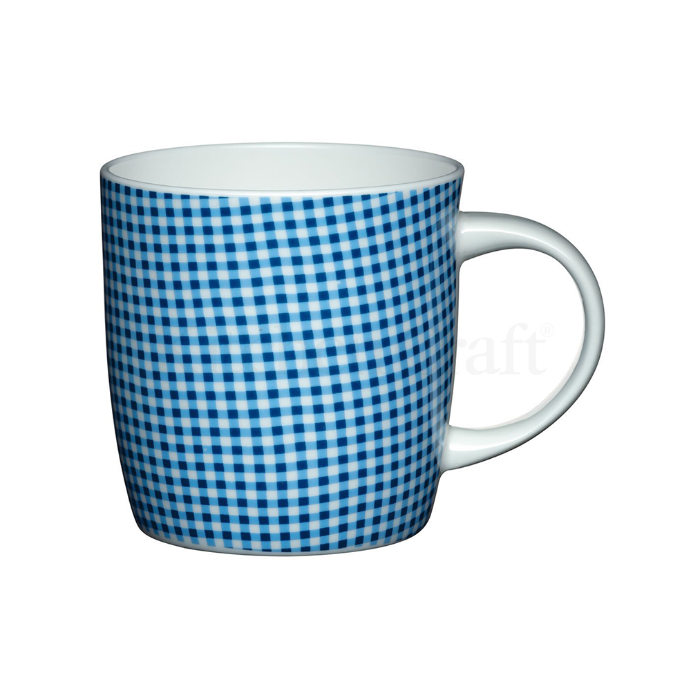 Kitchen Craft Porslin Mugg 425ml Blå Rutor