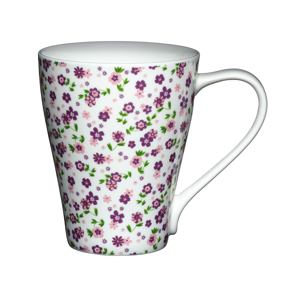Kitchen Craft Porslin Mugg 390ml Lila Blommor