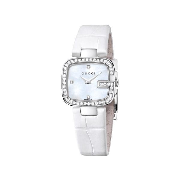 G-Gucci Damklocka Vit/Stål 45 Diamanter S