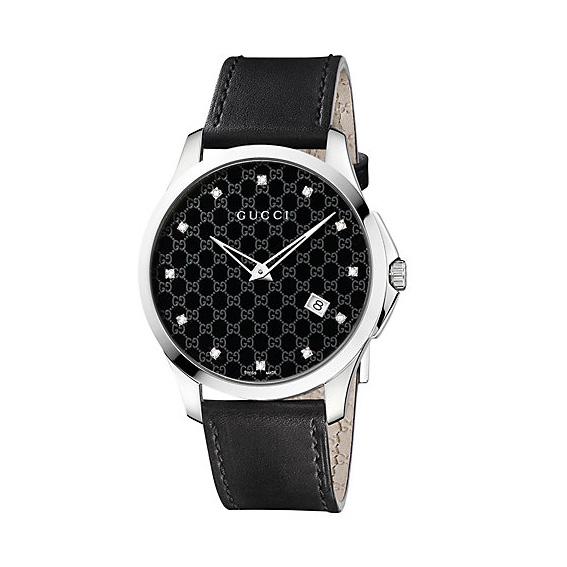 G-Timeless Herrklocka Svart/Stål 12 Diamanter L