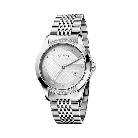 G-Timeless Unisexklocka Stål/Silver Diamanter M