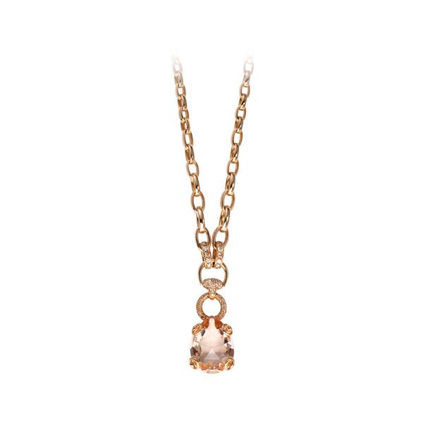 Horsebit Cocktailhalsband Rött Guld/Diamant