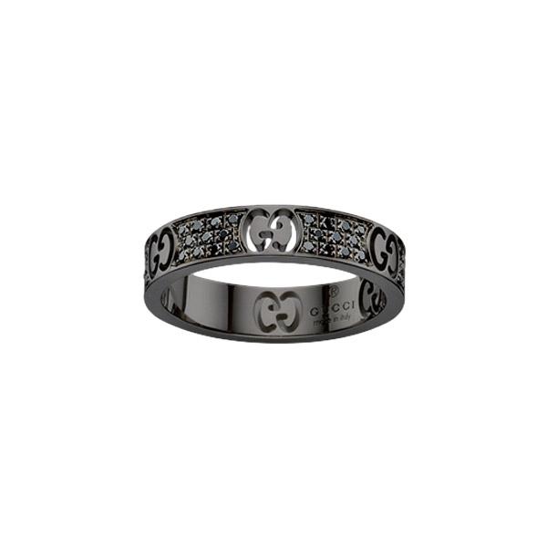 Icon Stardust Smal Ring Vitguld/Svarta Diamanter