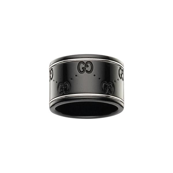 Icon GG Bred Ring Svart/Vitguld