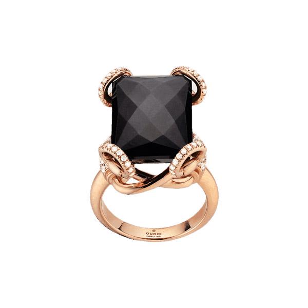 Horsebit Cocktailring Rött Guld/Onyx/Diamant