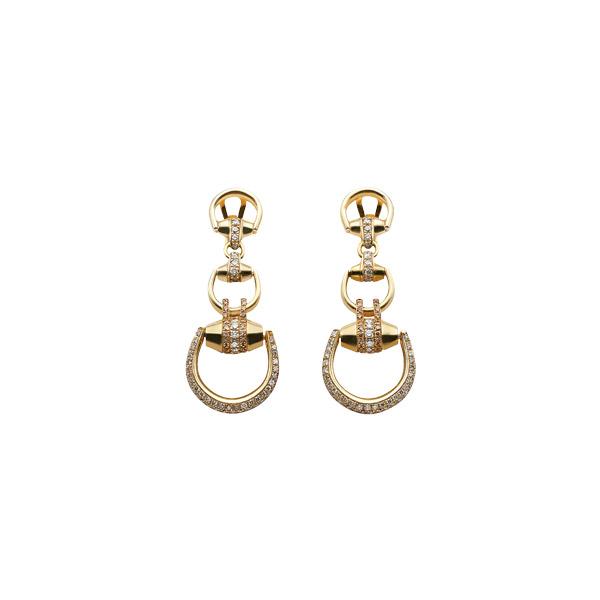 Horsebit Beverly Örhängen Guld/Bruna Diamanter