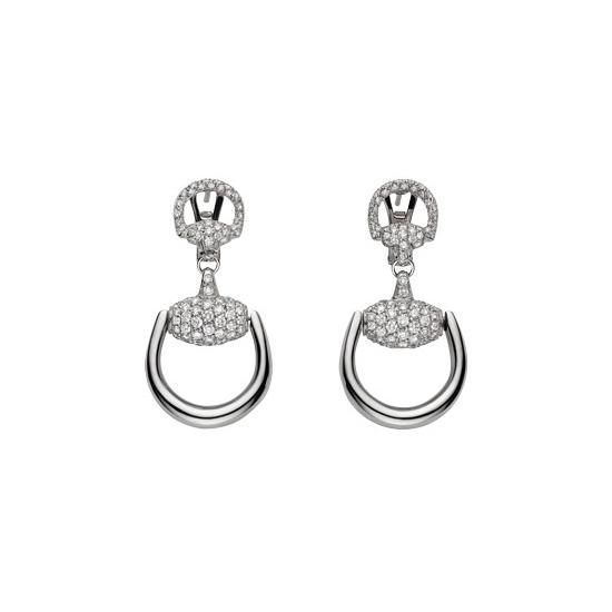 Horsebit Örhängen med Betsel Vitguld/Diamanter