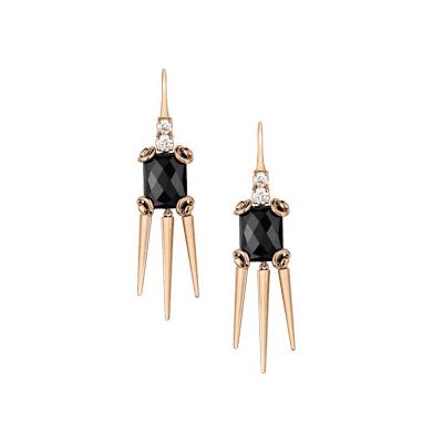 Horsebit Cocktailörhängen Rött Guld/Onyx/Diamant