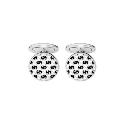 Manschettknappar GG-design Silver Sv/Vit Emalj