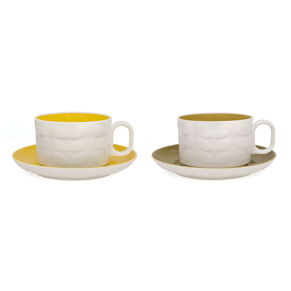 Raised Stem Cappuccinokopp 2-Pack Gul/Olive
