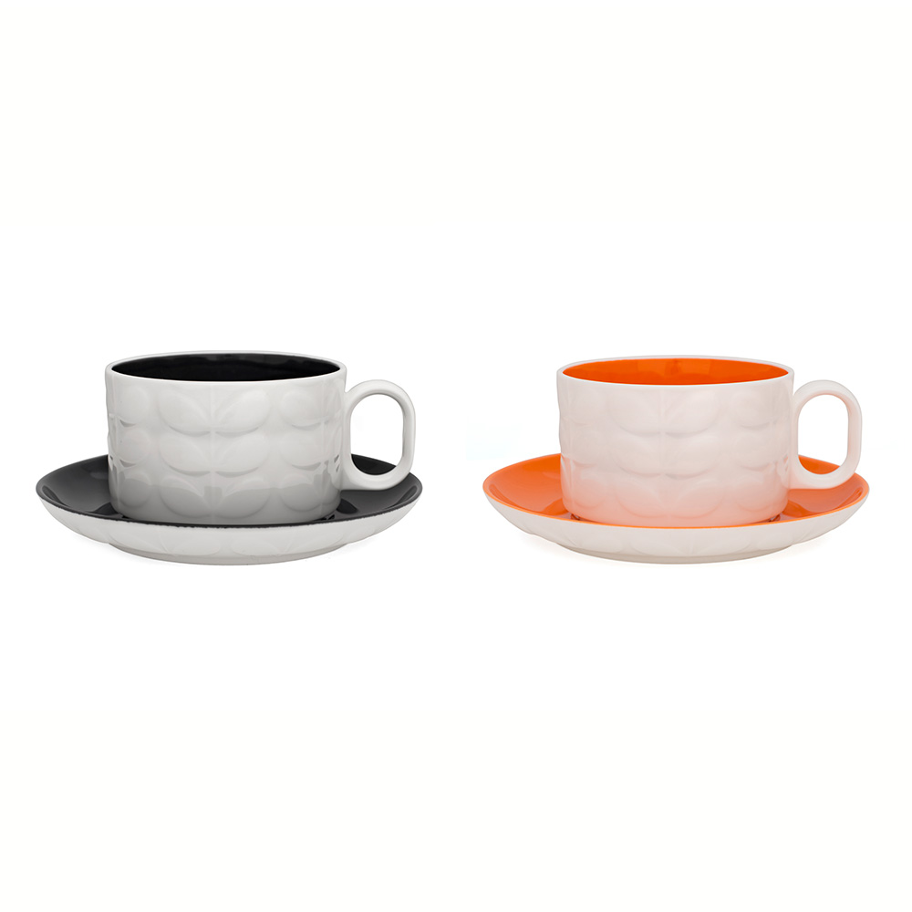Raised Stem Cappuccinokopp 2-Pack Charcoal/Orange