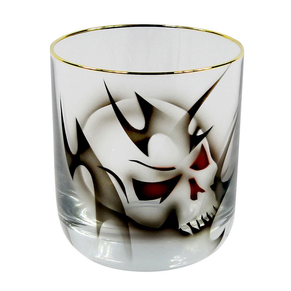 Nybro Crystal Gold Dödskalle Whiskyglas