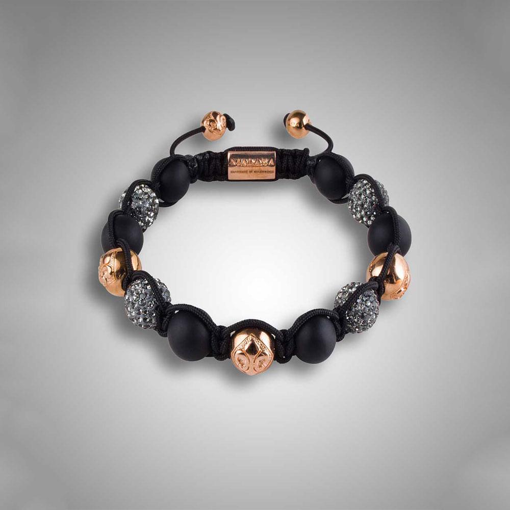 Mens Italian Crystal Armband Svart
