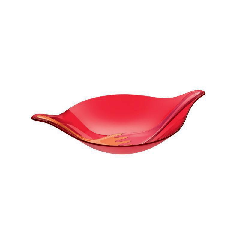 Leaf L+ Salladsskål Med Bestick Röd