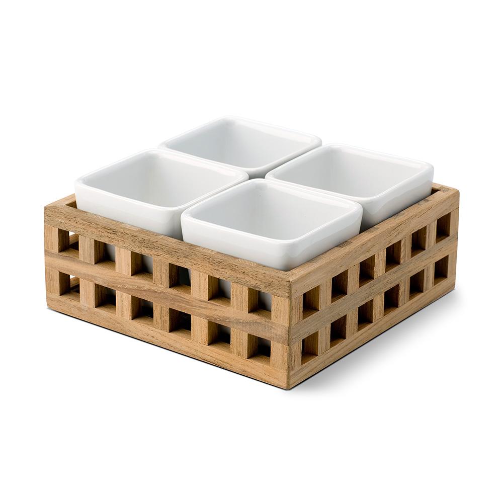 Pantry Bricka med 4 skålar 15x15cm, Teak