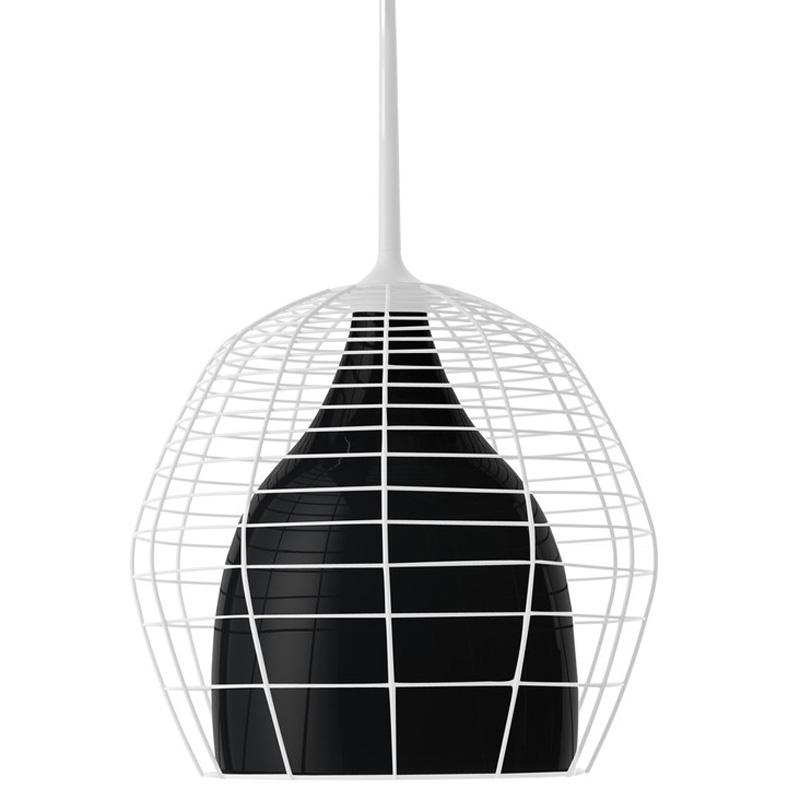 Cage Taklampa 69 cm Vit bur/Svart skärm
