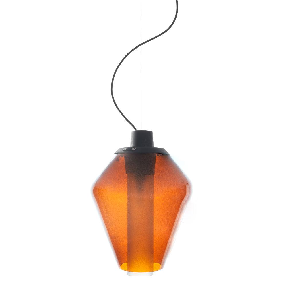 Metal Glass Taklampa Bärnsten