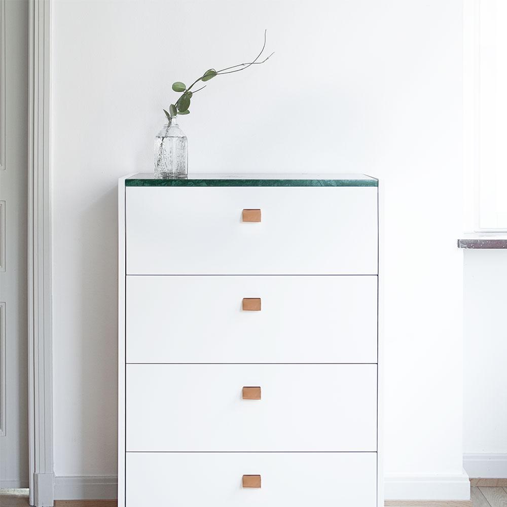 Loft Byrå TE4, Vit/Grön Marmor, Decotique