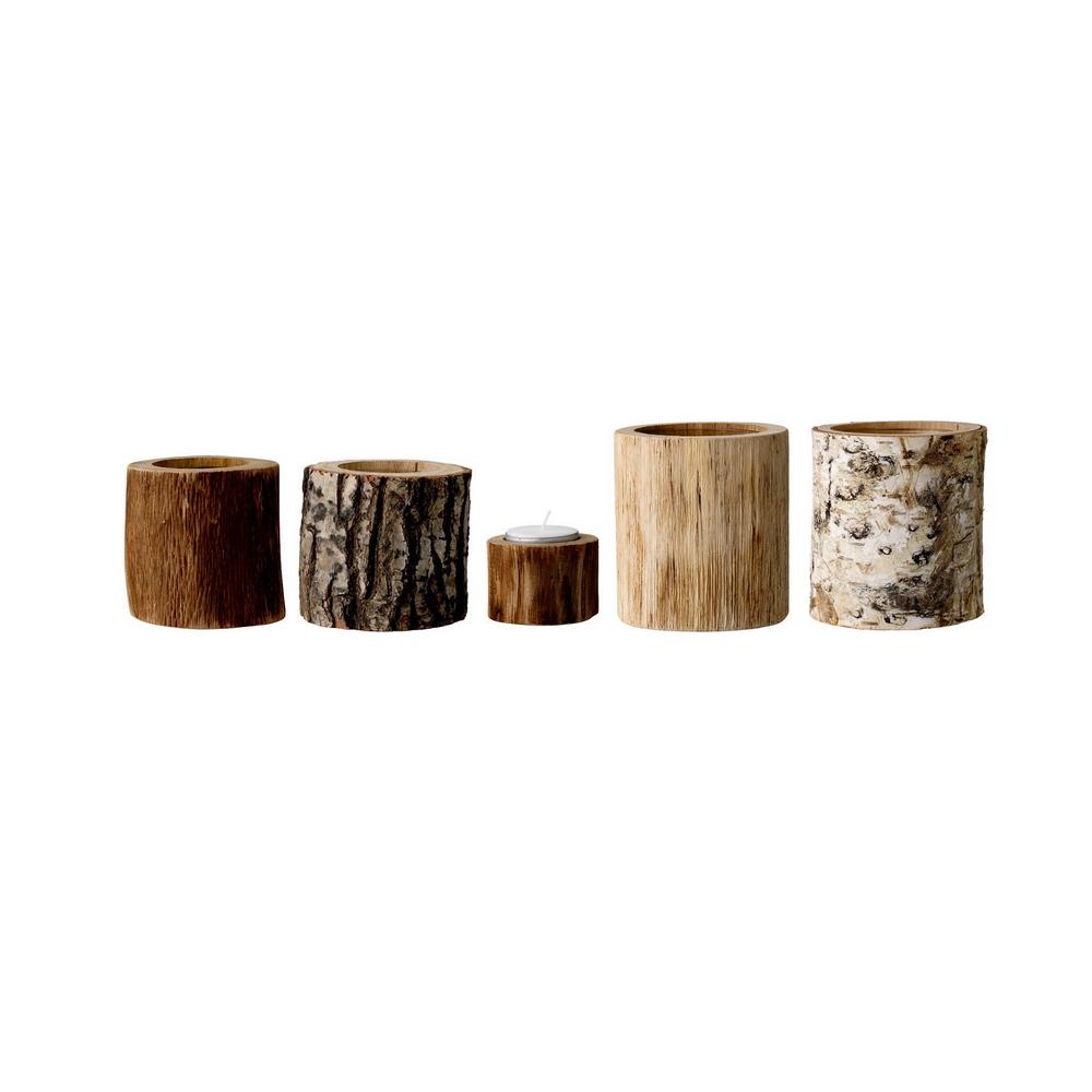 Wood Ljuslykta 5-Pack, Trä, Bloomingville