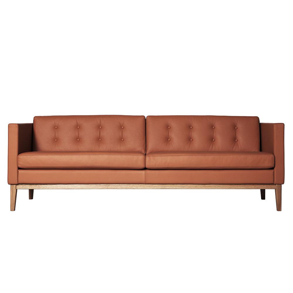 Madison 3-Sits Soffa Med Knappar Brun