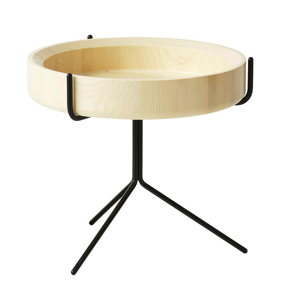 Drum Sidobord 46cm, Trä/Svart