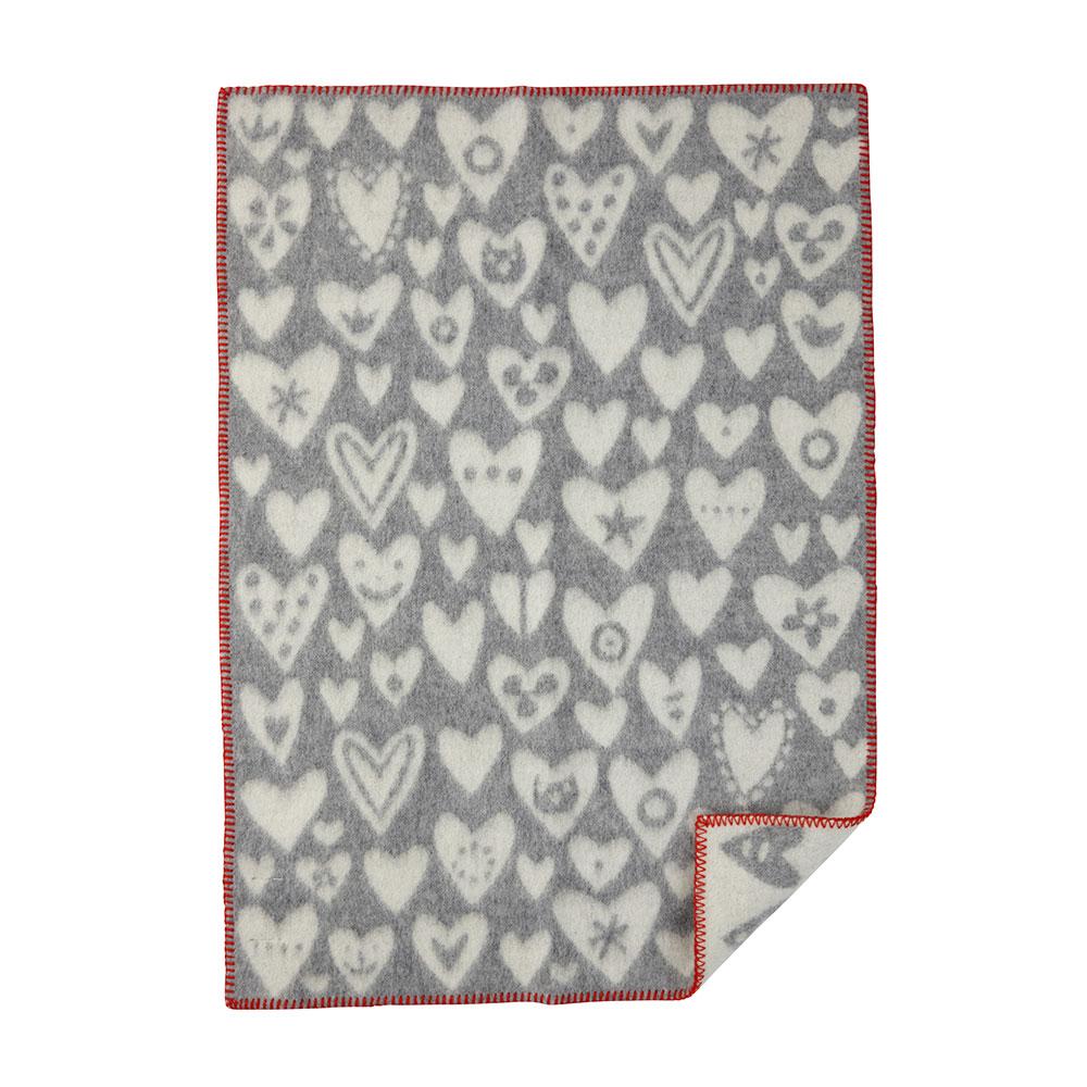 Baby Heart Ullfilt 65x90cm Grå/Vit
