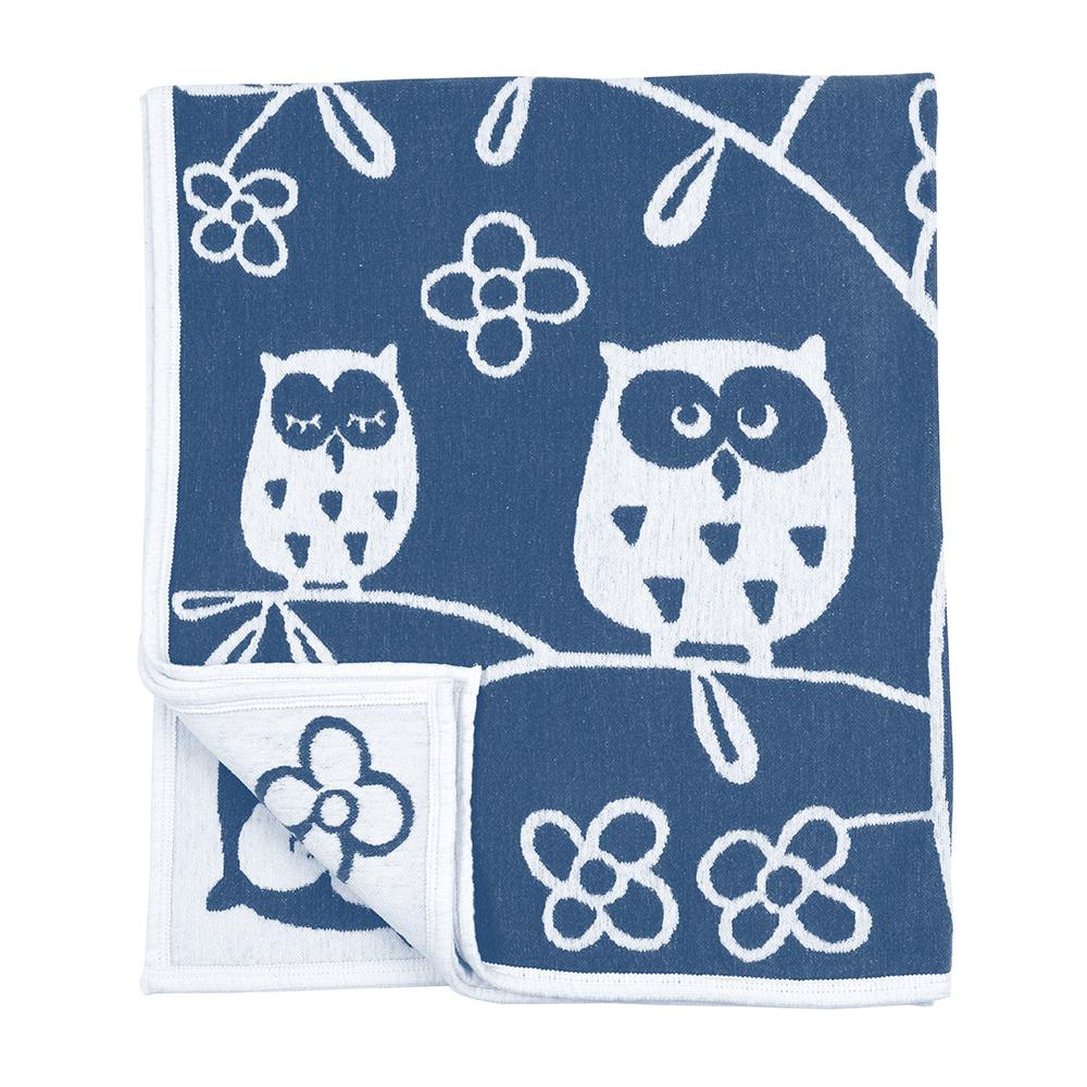 Tree Owl Chenillefilt 90×140 cm Blå