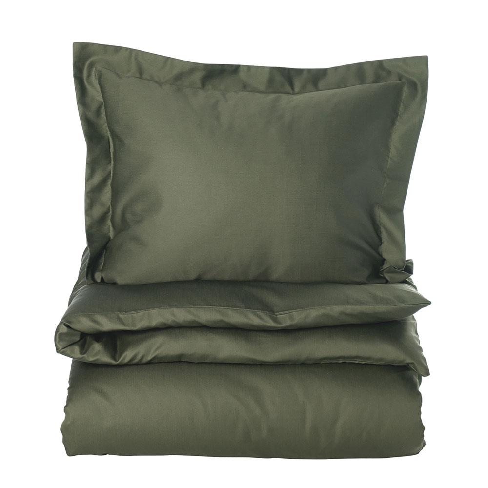 Solid Sateen Påslakan 220×220 cm, Mörkgrön