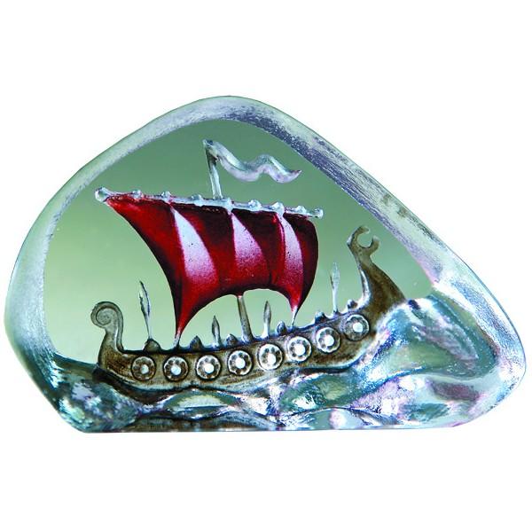 Miniatyr Vikingaskepp Röd