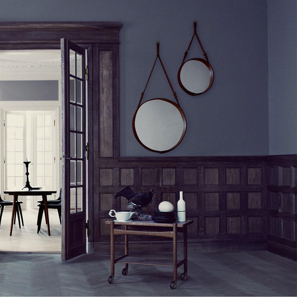 Adnet spegel rund 58cm, brun   jacques adnet   gubi   royaldesign.se
