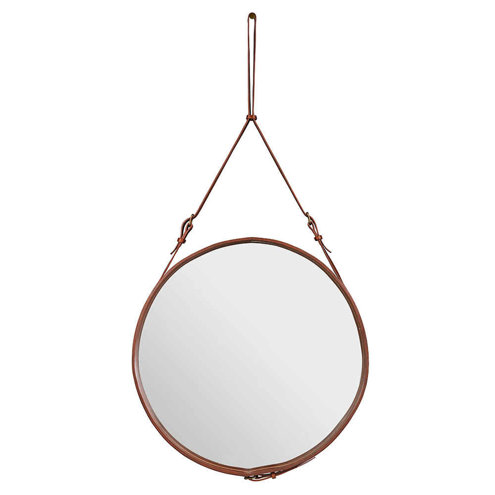 Adnet Spegel Rund 70cm Brun