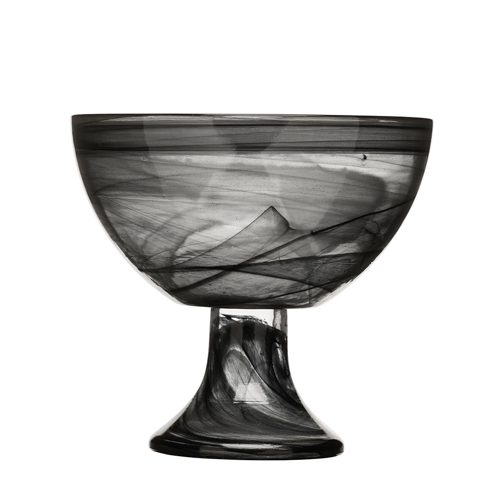 Black & White Skål På Fot, Svart, SEA Glasbruk