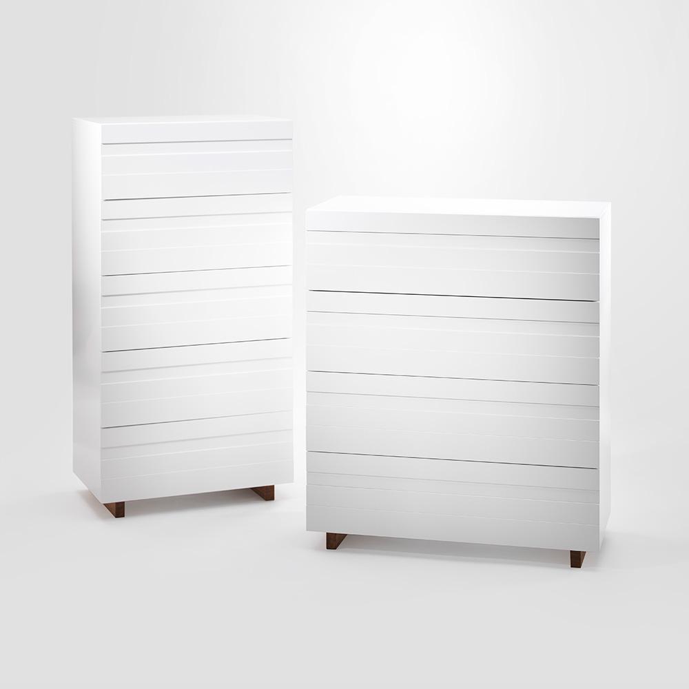 White Byrå 5, Vit/ Ek, A2