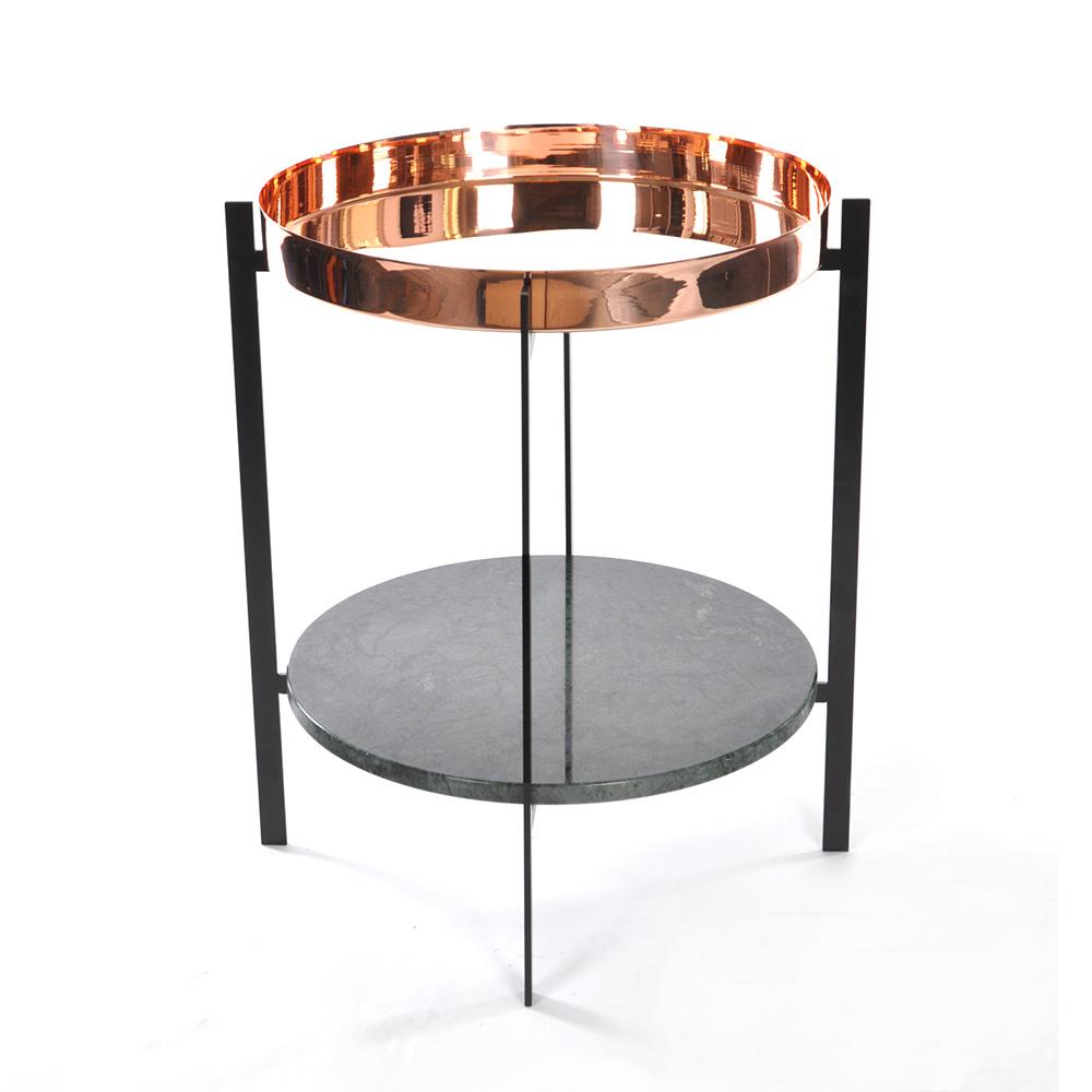 Deck Sidobord Grön Marmor/Koppar