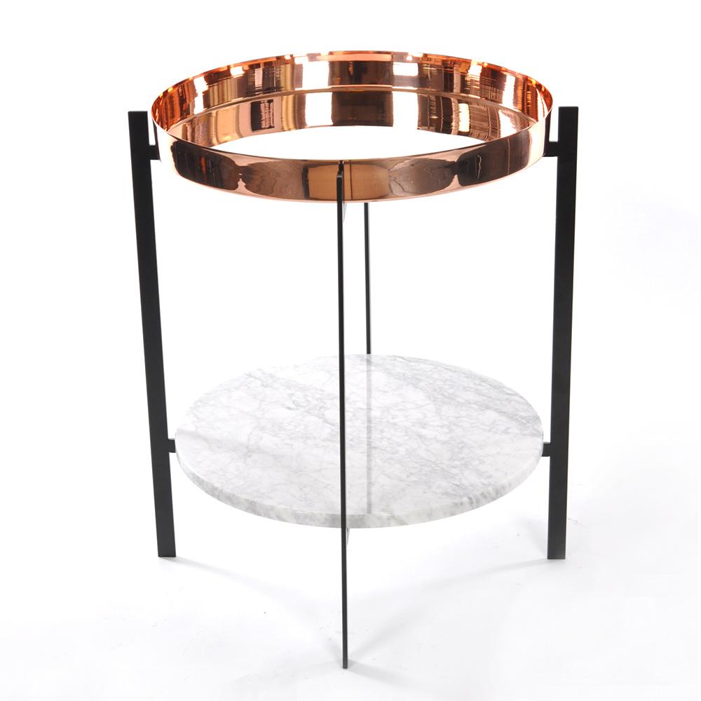 Deck Sidobord Vit Marmor/Koppar